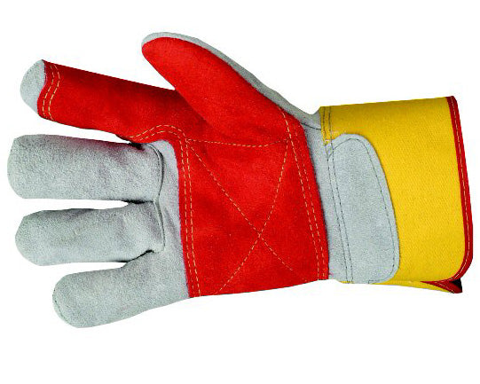 Rigger glove chrome leather reinforced double palmed red/yellow