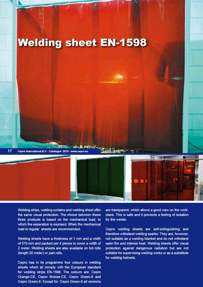 Welding curtain Cepro red strip 18118P 2 mtr x 1.8 mtr (box contains 4 strips)