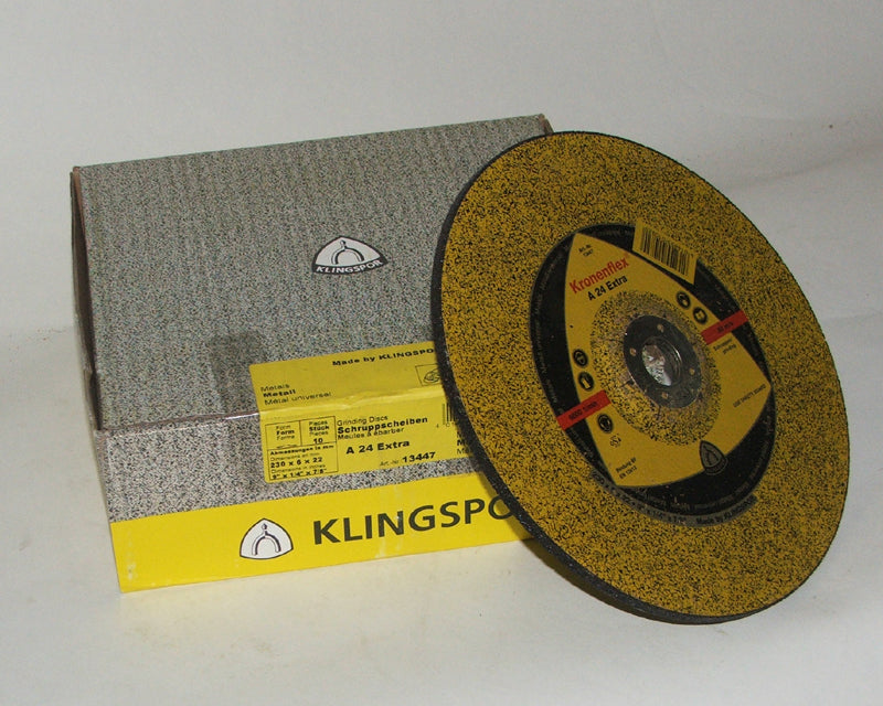 Grinding disc 230 x 6 x 22mm depressed centre Klingspor A24 extra 13447