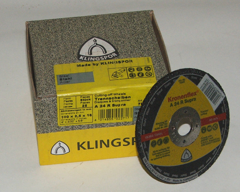 Cutting disc 100 x 2.5 x 16mm flat Klingspor A24R 70467
