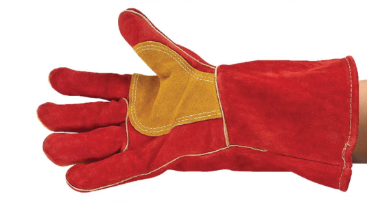 "Welders gauntlet glove Ultima Superior red/gold 14"" cuff reinforced lined size 11"