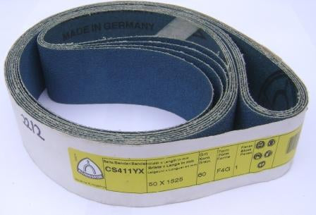 Linishing belt 1525 x 50mm wide grit P60 blue zirconia