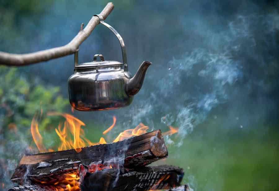 Coffee pot on camping fire