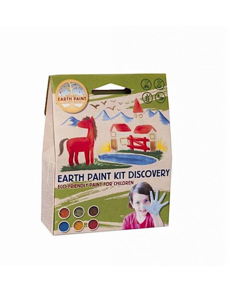 NATURAL EARTH PAINT - Children's Earth Paint - Kit DISCOVERY 1 litre, 1 bamboo brush