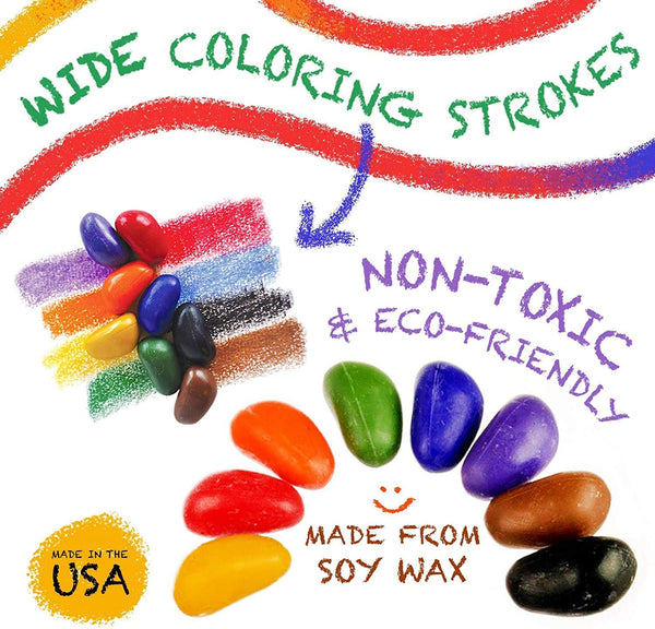 CRAYON ROCKS - 20 Natural Soy Wax Crayons SEASIDE Bag (Stimulating Tripod Grip)