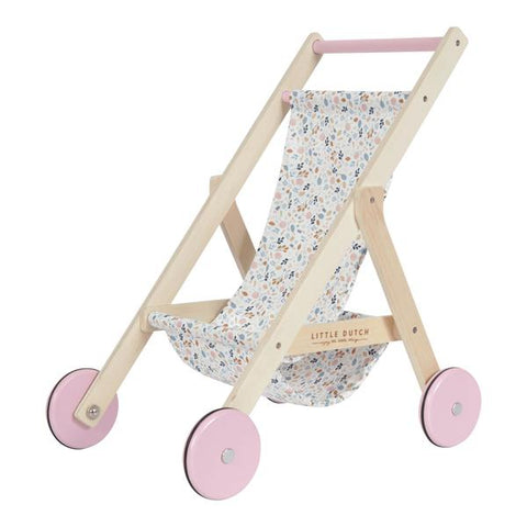 LITTLE DUTCH - Wooden Doll Stroller - Spring Flowers