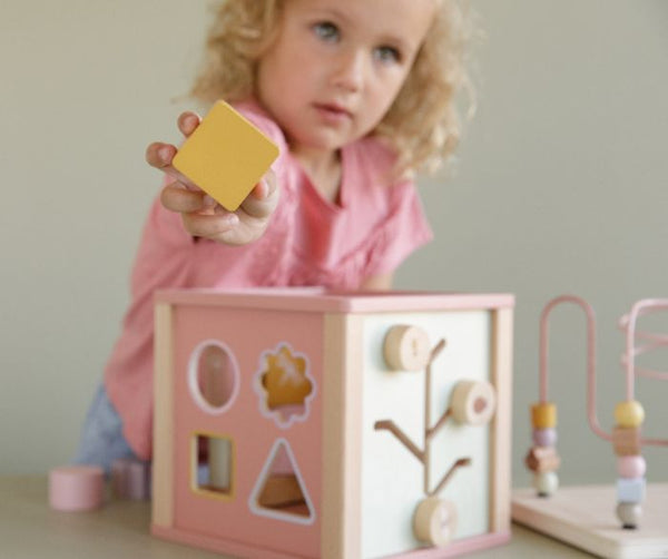 LITTLE DUTCH - Wooden Activity Cube - Wild Flowers