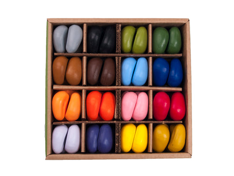 CRAYON ROCKS - Just Rocks in a Box - 64 Natural Soy Wax Crayons in 16 Colours (Stimulating Tripod Grip)