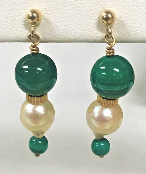 14k yellow gold Malachite &  Freshwater Pearl