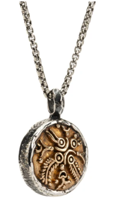 "22"" Venetian box chain with Oxidized Sterling Silver/Bronze  ""Four Virtues"" Coin Pendant"