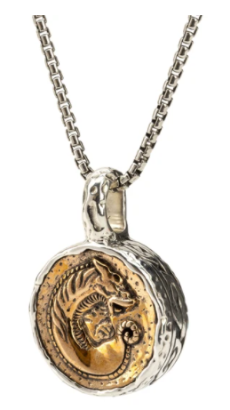 "22"" Venetian box chain with an Oxidized Sterling Silver/Bronze Large Dragon Coin Pendant."
