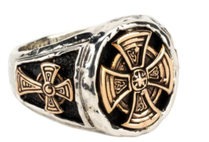 Oxidized Sterling Silver/Bronze Celtic Cross Oval Ring