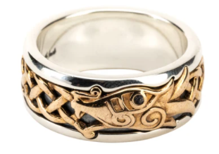 Oxidized Sterling Silver/Bronze with Black Cubic Zirconia Dragon Ring
