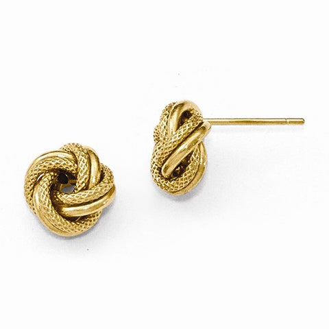 14k yellow gold Love Knot Polished Diamond Cut Post Earrings