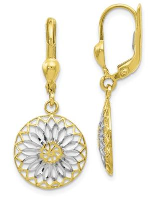 10k yellow gold with White Rhodium Polished Flower Lever-back Earrings