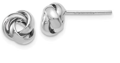 14k white gold Love Knot Polished Post Earrings