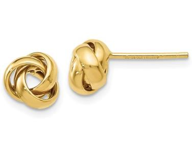 14k yellow gold Love Knot Polished Post Earrings