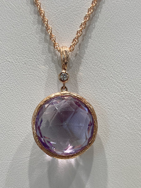 14KRG Amethyst and Diamond Necklace