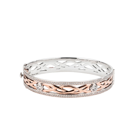 Bangle Oxidized 10k Rose CZ Brave Heart Large Bangle from welch and company jewelers near syracuse ny