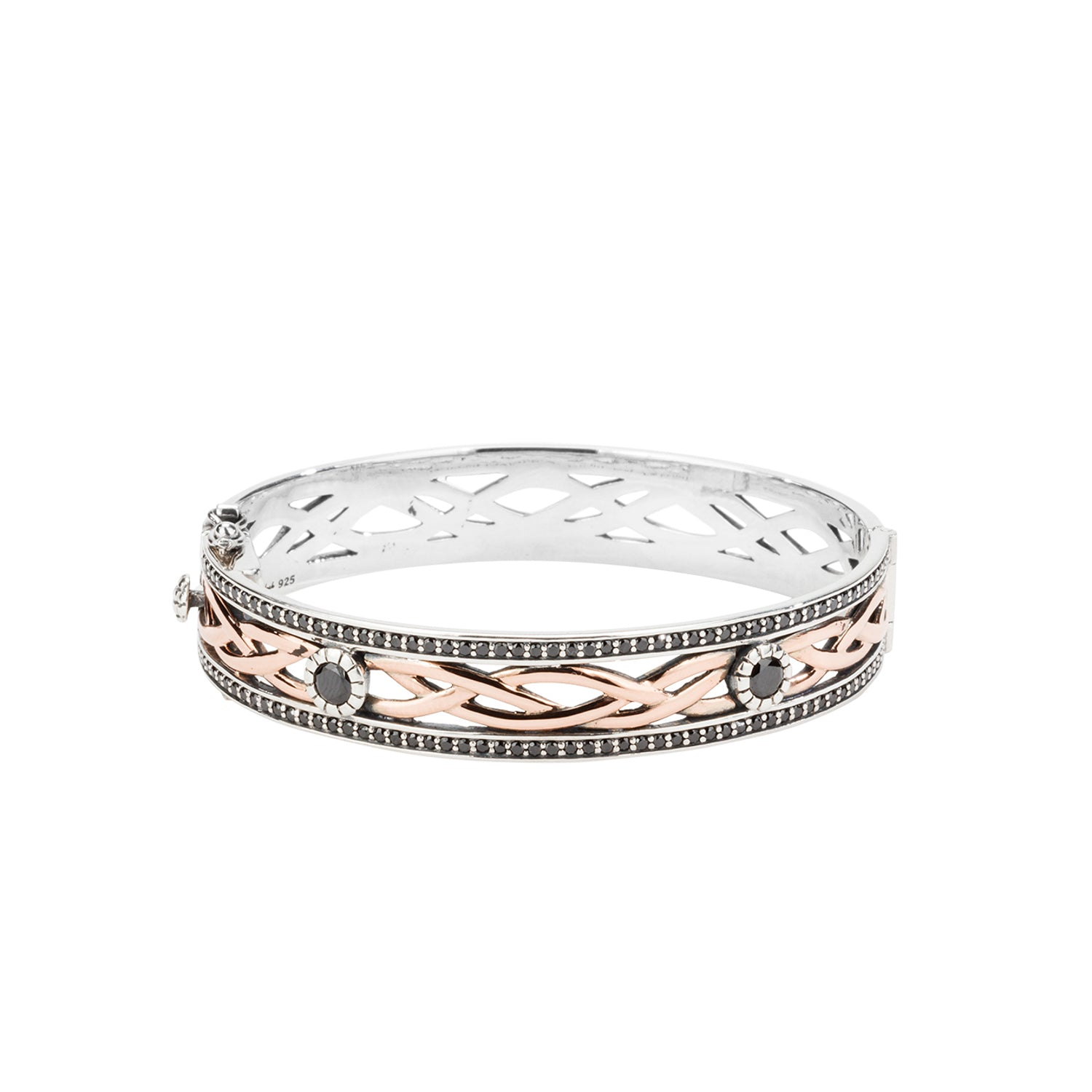 Bangle Oxidized 10k Rose Black CZ Brave Heart Bangle from welch and company jewelers near syracuse ny