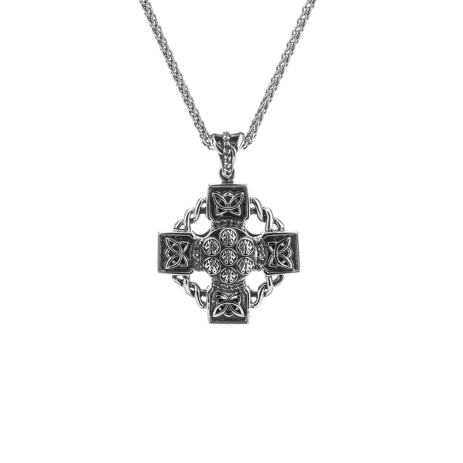 Pendant Oxidized White Topaz Celtic Wheel Cross Pendant from welch and company jewelers near syracuse ny