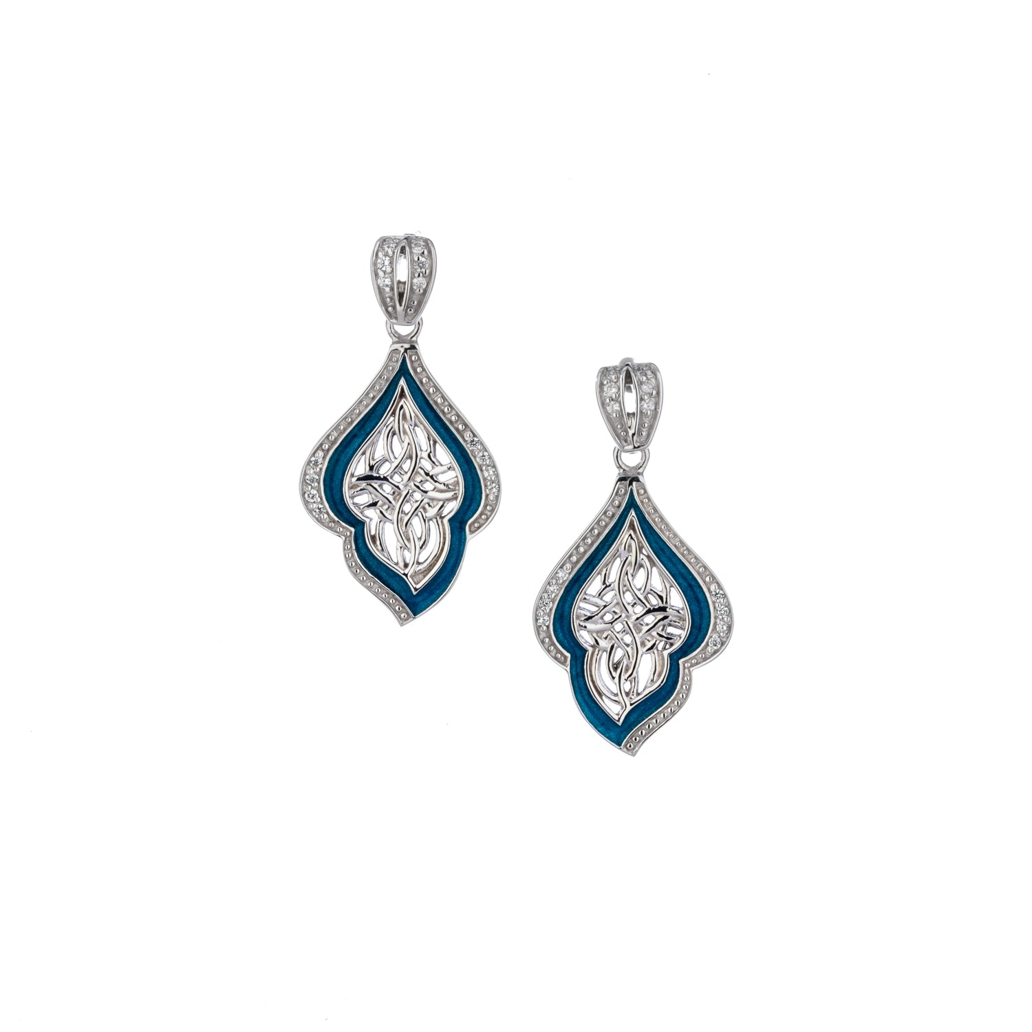 Earrings Sky Blue Enamel CZ Post Earrings from welch and company jewelers near syracuse ny