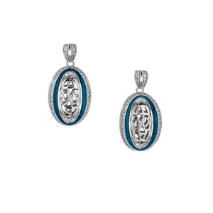 Earrings Sky Blue Enamel CZ Path of Life Post Earrings from welch and company jewelers near syracuse ny