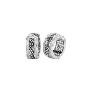 Earrings Grey Enamel CZ Window to the Soul Huggie Earrings from welch and company jewelers near syracuse ny