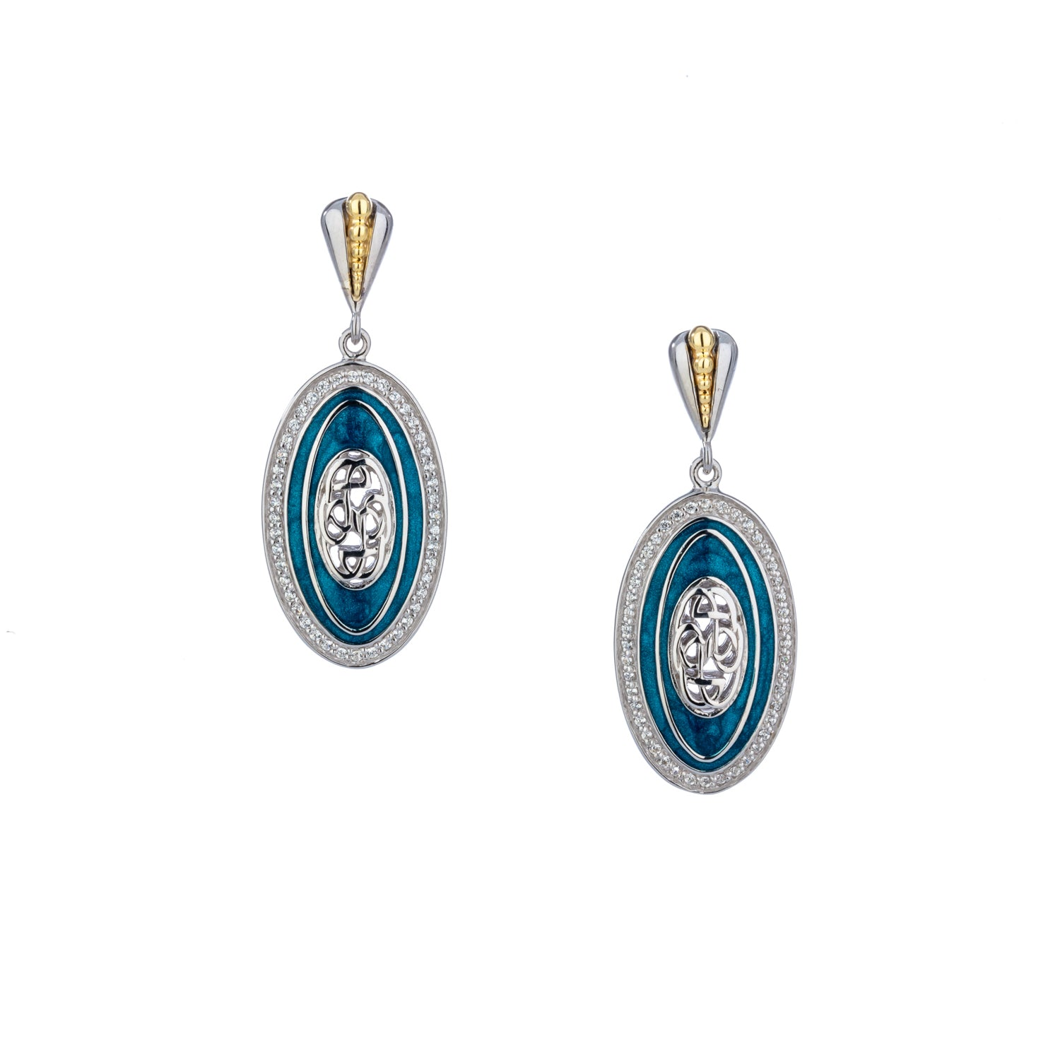 Earrings 10k Sky Blue Enamel CZ Path of Life Post Earrings from welch and company jewelers near syracuse ny