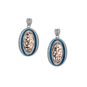 Earrings 10k Rose Sky Blue Enamel CZ Path of Life Post Earrings from welch and company jewelers near syracuse ny