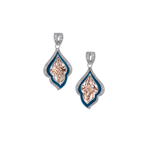 Earrings 10k Rose Sky Blue Enamel CZ Post Earrings from welch and company jewelers near syracuse ny