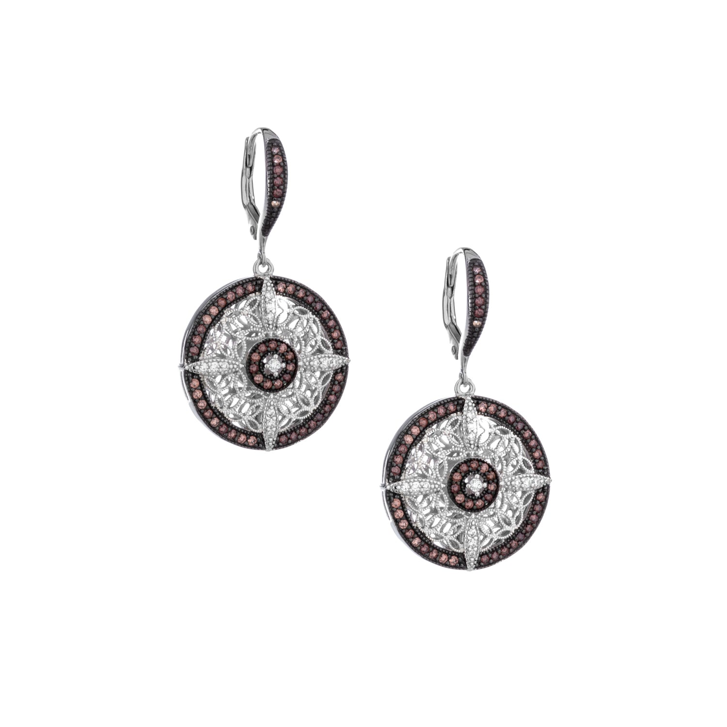 Earrings Rhodium CZ Night & Day Round Leverback Earrings from welch and company jewelers near syracuse ny