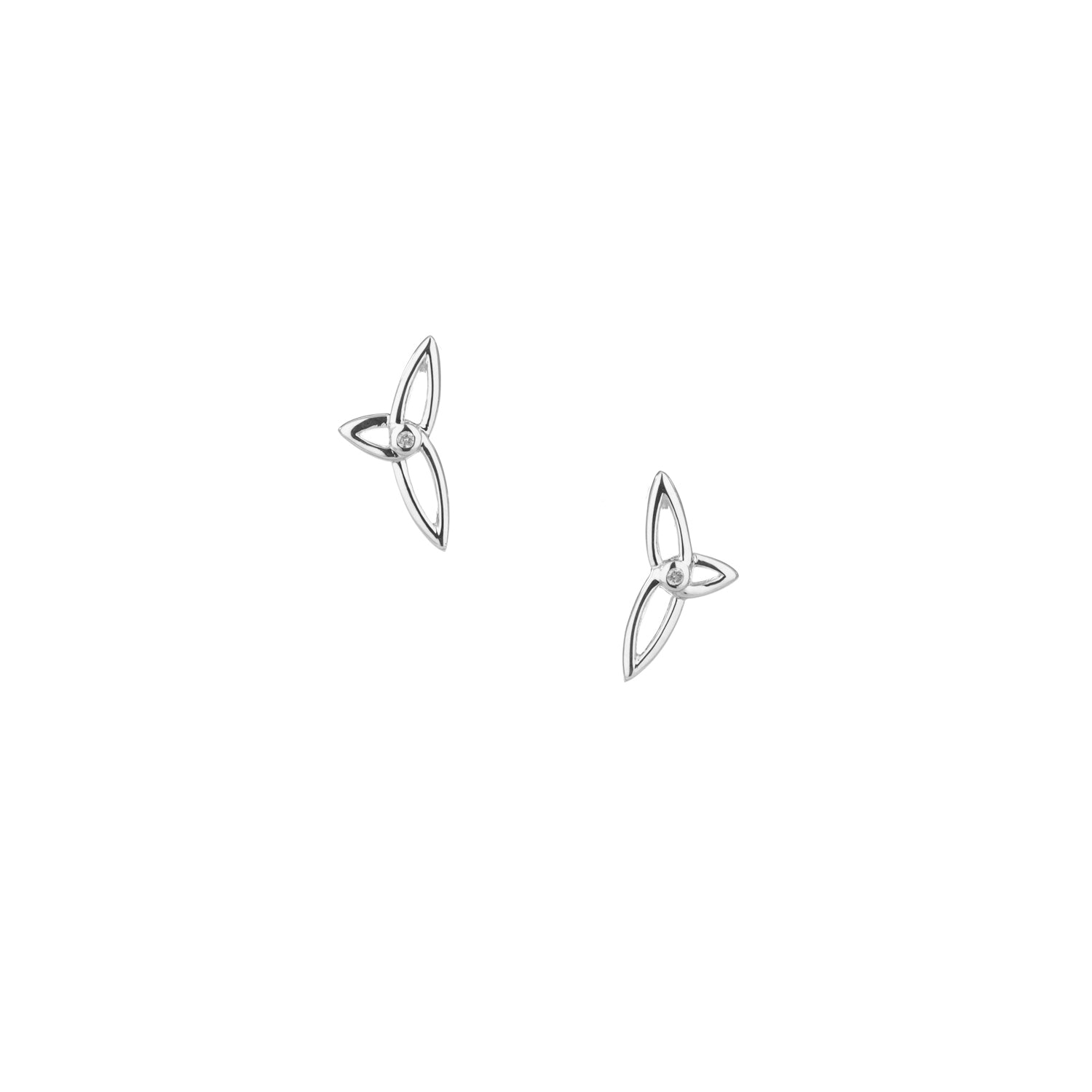 Earrings Diamond (1.3mm) Asymmetrical Trinity Post Earrings from welch and company jewelers near syracuse ny