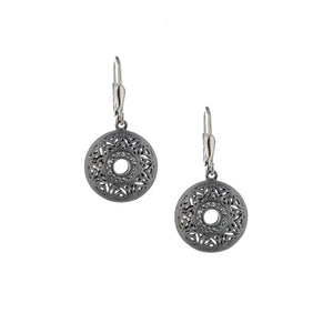 Earrings Ruthenium Window To The Soul White Topaz Round Leverback Earrings from welch and company jewelers near syracuse ny