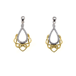 Earrings Rhodium 10k Yellow CZ Love's Chalice Post Earrings from welch and company jewelers near syracuse ny