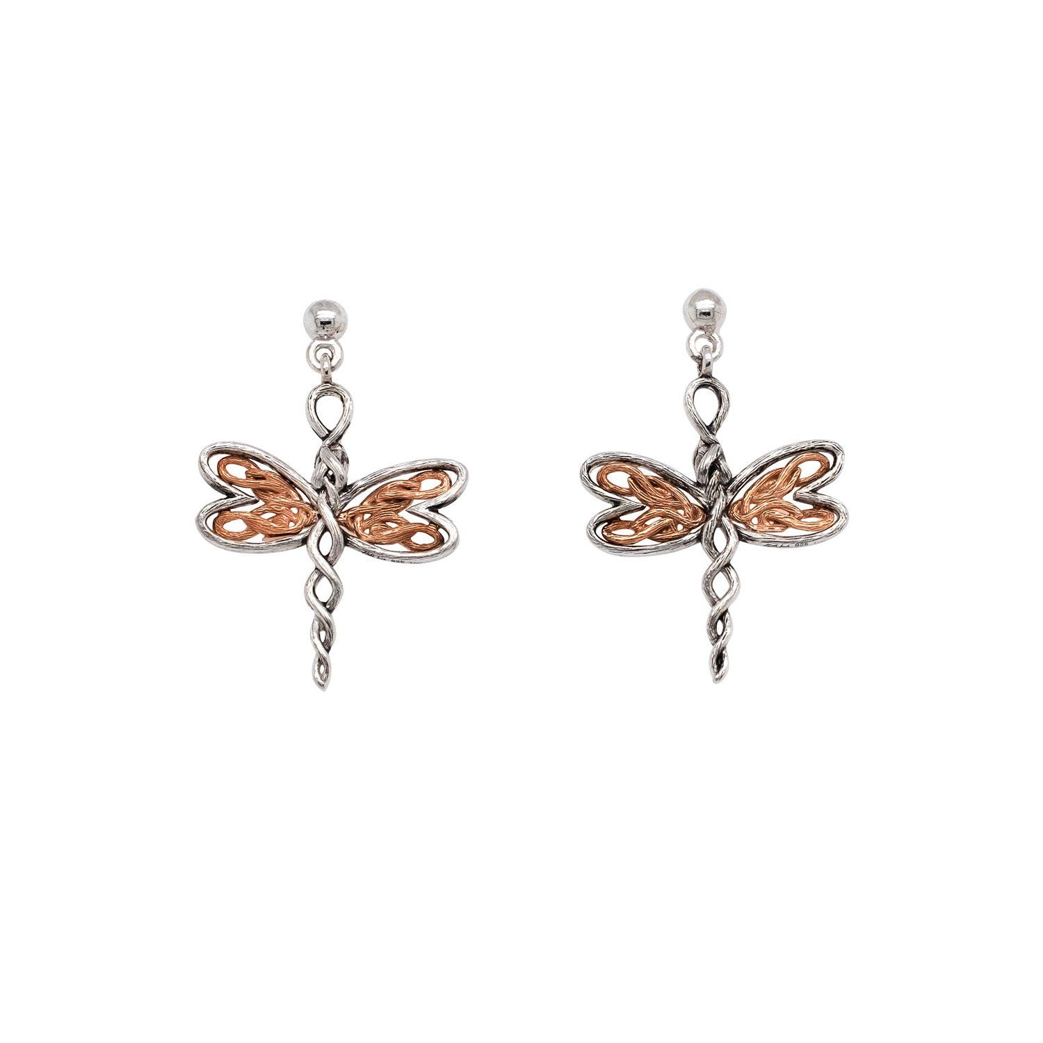 Earrings Rhodium 10k Rose Dragonfly Post Earrings from welch and company jewelers near syracuse ny