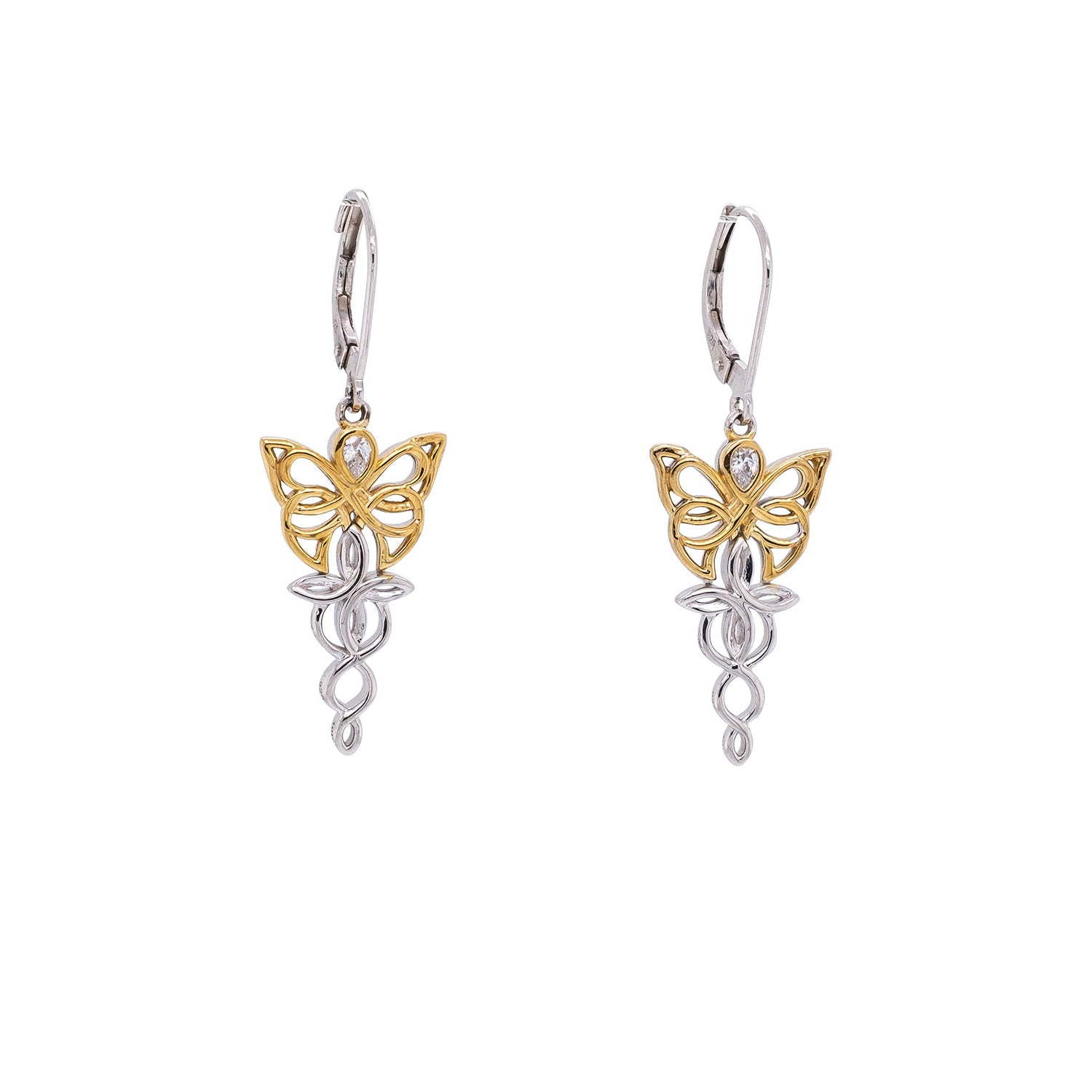 Earrings Rhodium 10k Yellow CZ Butterfly Leverback Earrings from welch and company jewelers near syracuse ny