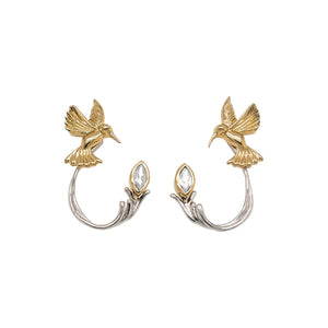 Earrings 10k Yellow Hummingbird Stud with 10k White Topaz Earring Jacket (3 piece) from welch and company jewelers near syracuse ny