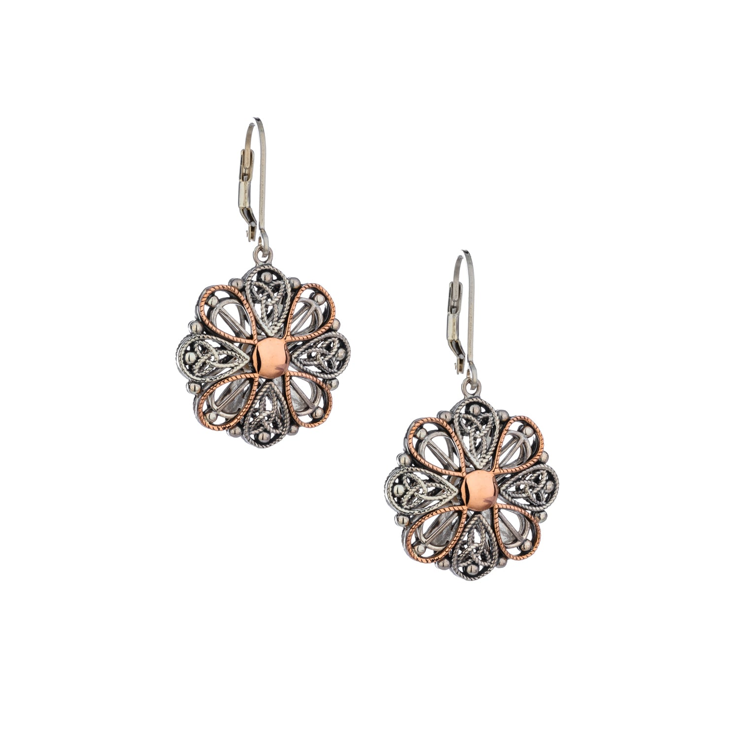 Earrings 10k Rose Ashen Rose Angel Leverback Earrings from welch and company jewelers near syracuse ny