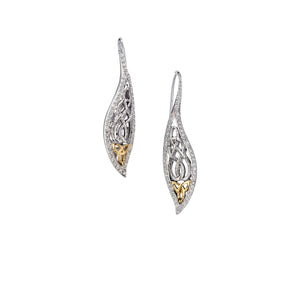 Earrings Rhodium 10k Yellow CZ Barked Leaf Hook Earrings from welch and company jewelers near syracuse ny