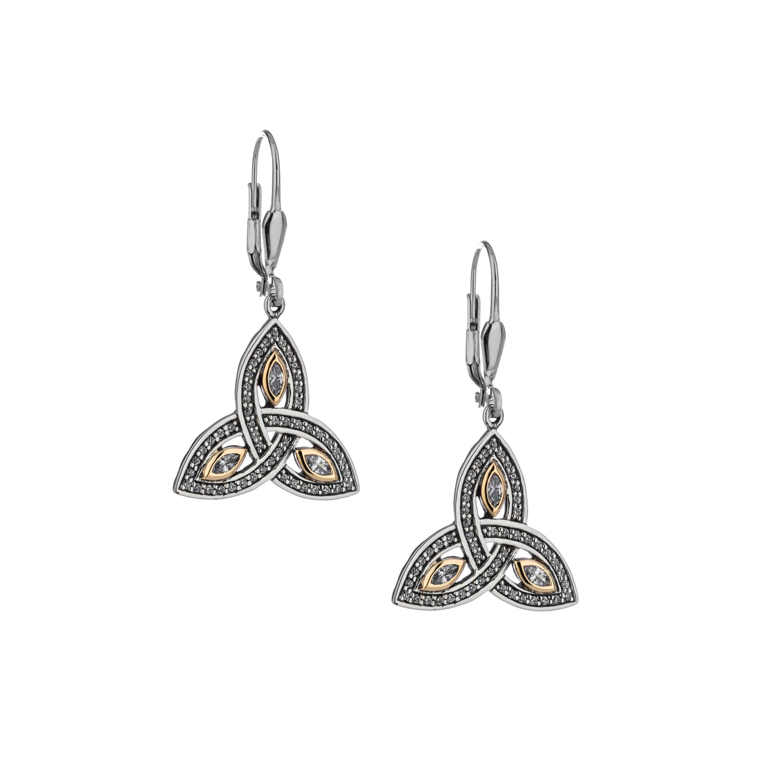 Earrings 10k CZ Trinity Leverback Earrings from welch and company jewelers near syracuse ny