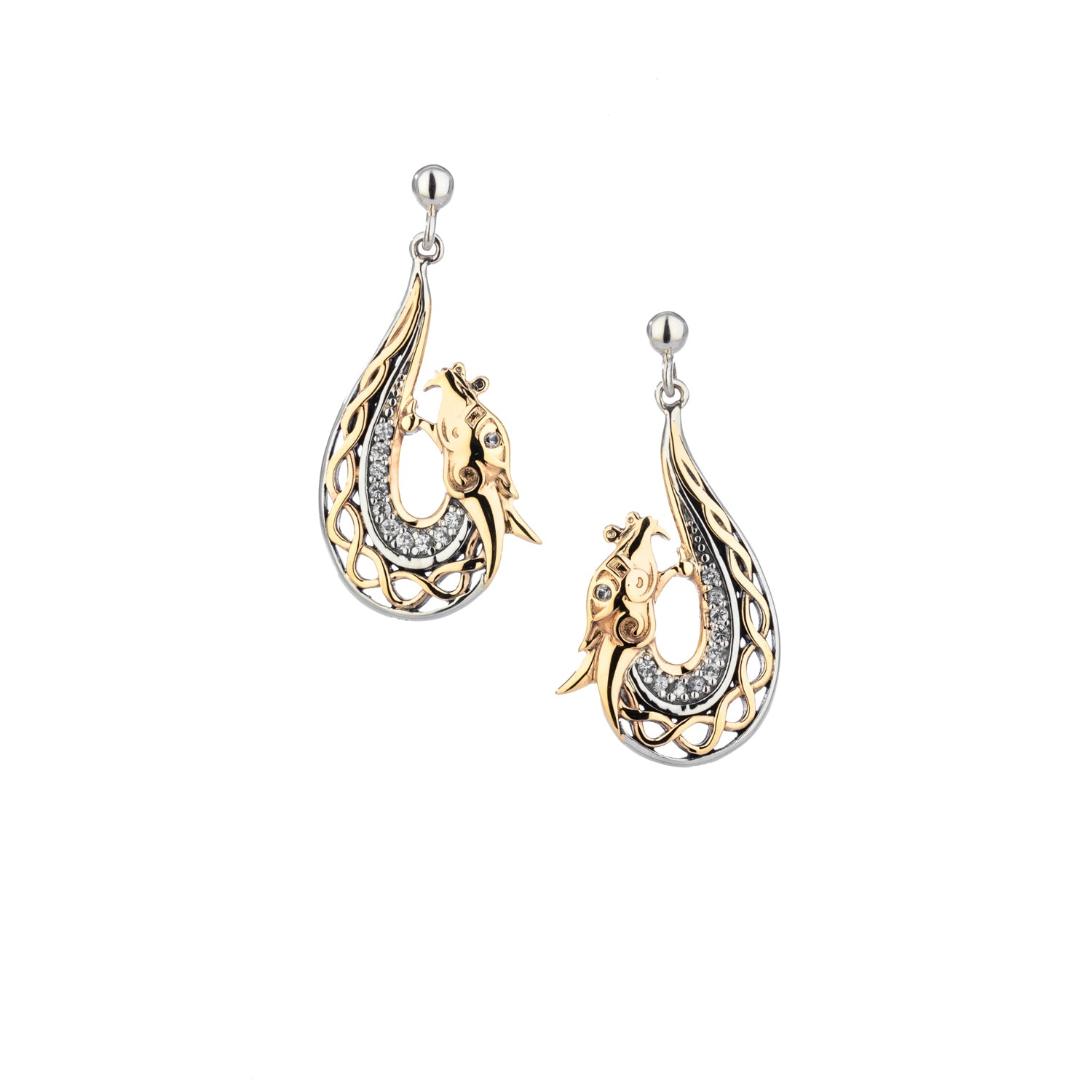 Earrings 10k White Sapphire Dragon Post Earrings from welch and company jewelers near syracuse ny