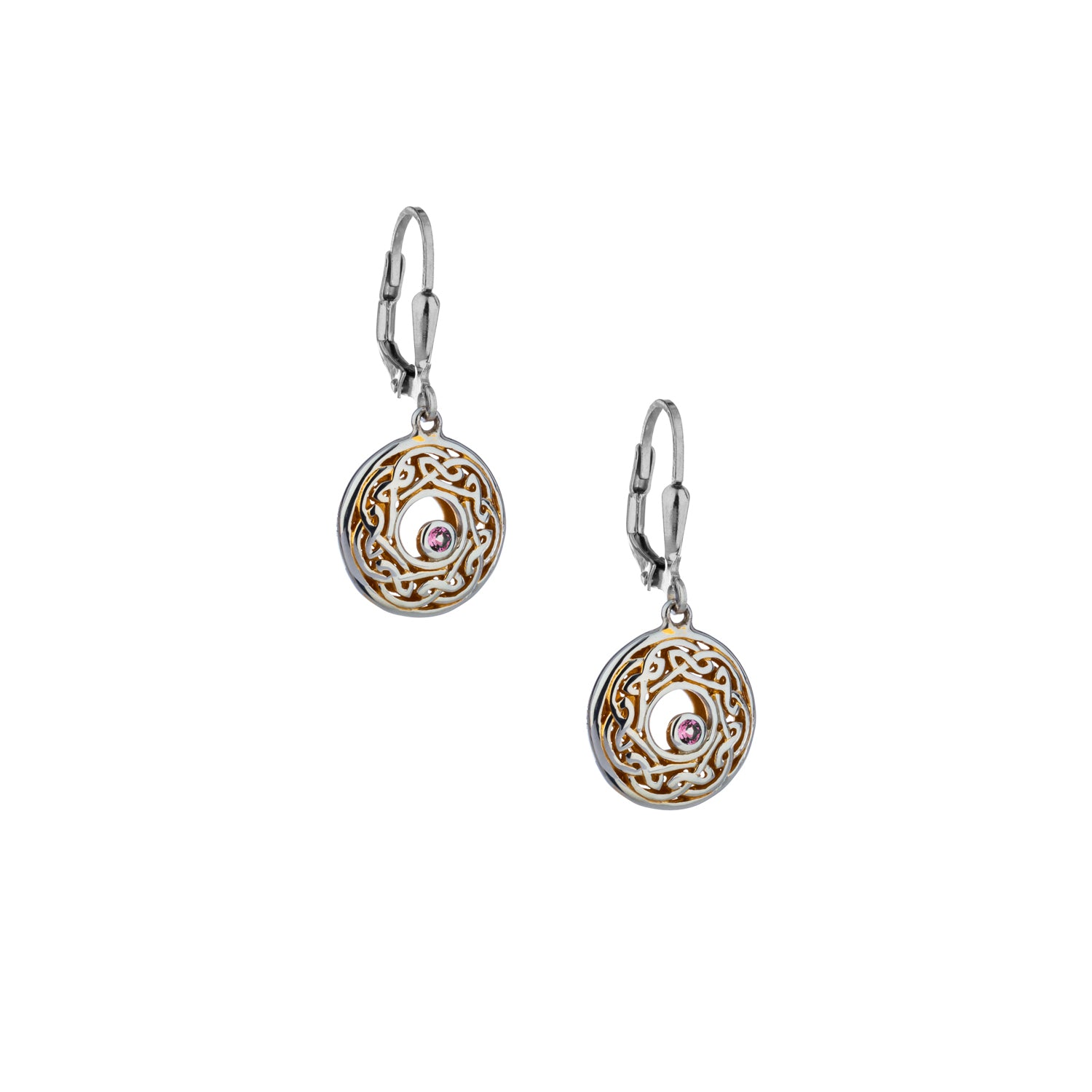 Earrings 22k Gilded Window to the Soul Rhodolite (2mm) Round Leverback Earrings from welch and company jewelers near syracuse ny