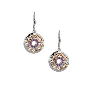 Earrings 22k Gilded Window To The Soul Amethyst Round Leverback Earrings from welch and company jewelers near syracuse ny
