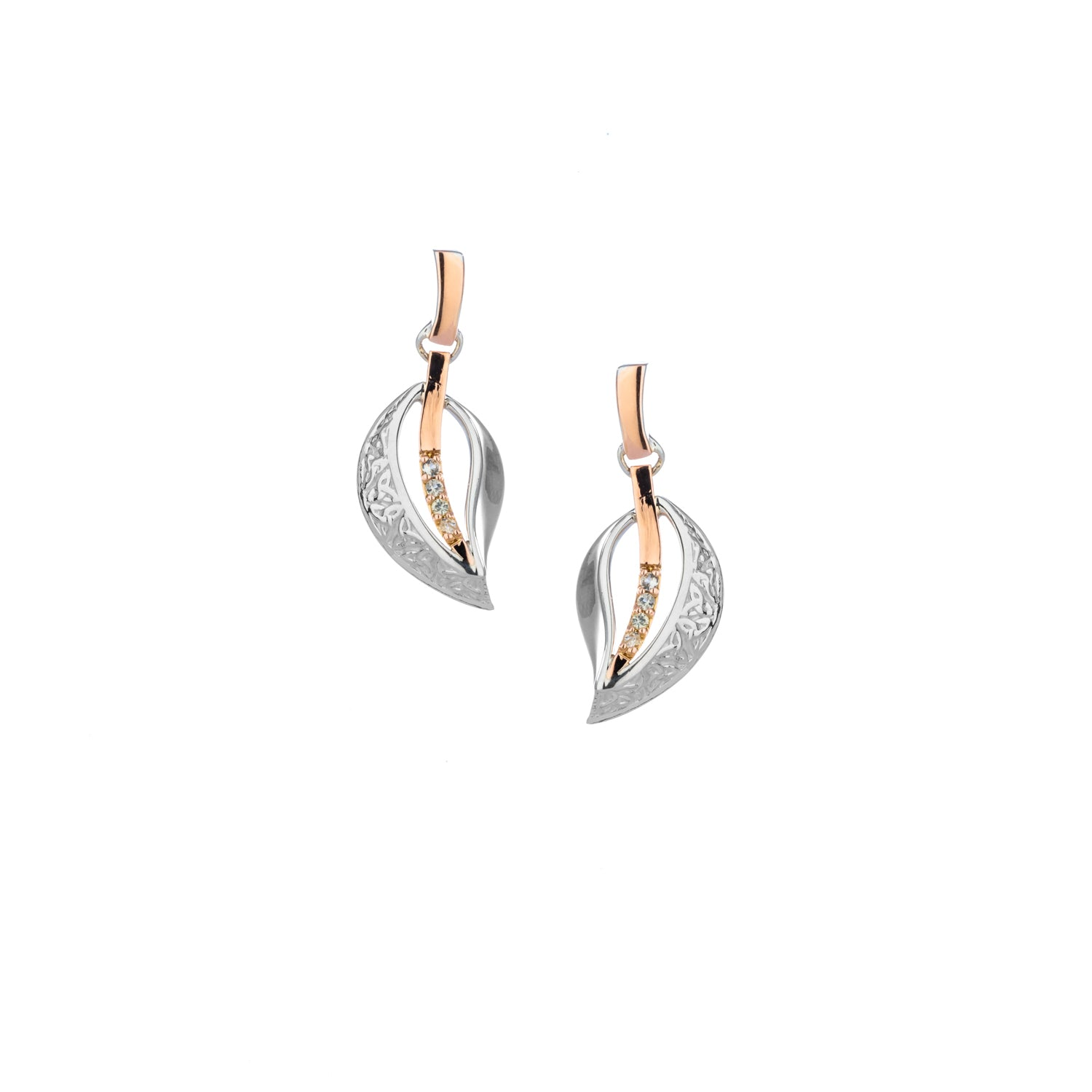 Earrings 10k Rose White Sapphire Trinity Leaf Post Earrings from welch and company jewelers near syracuse ny