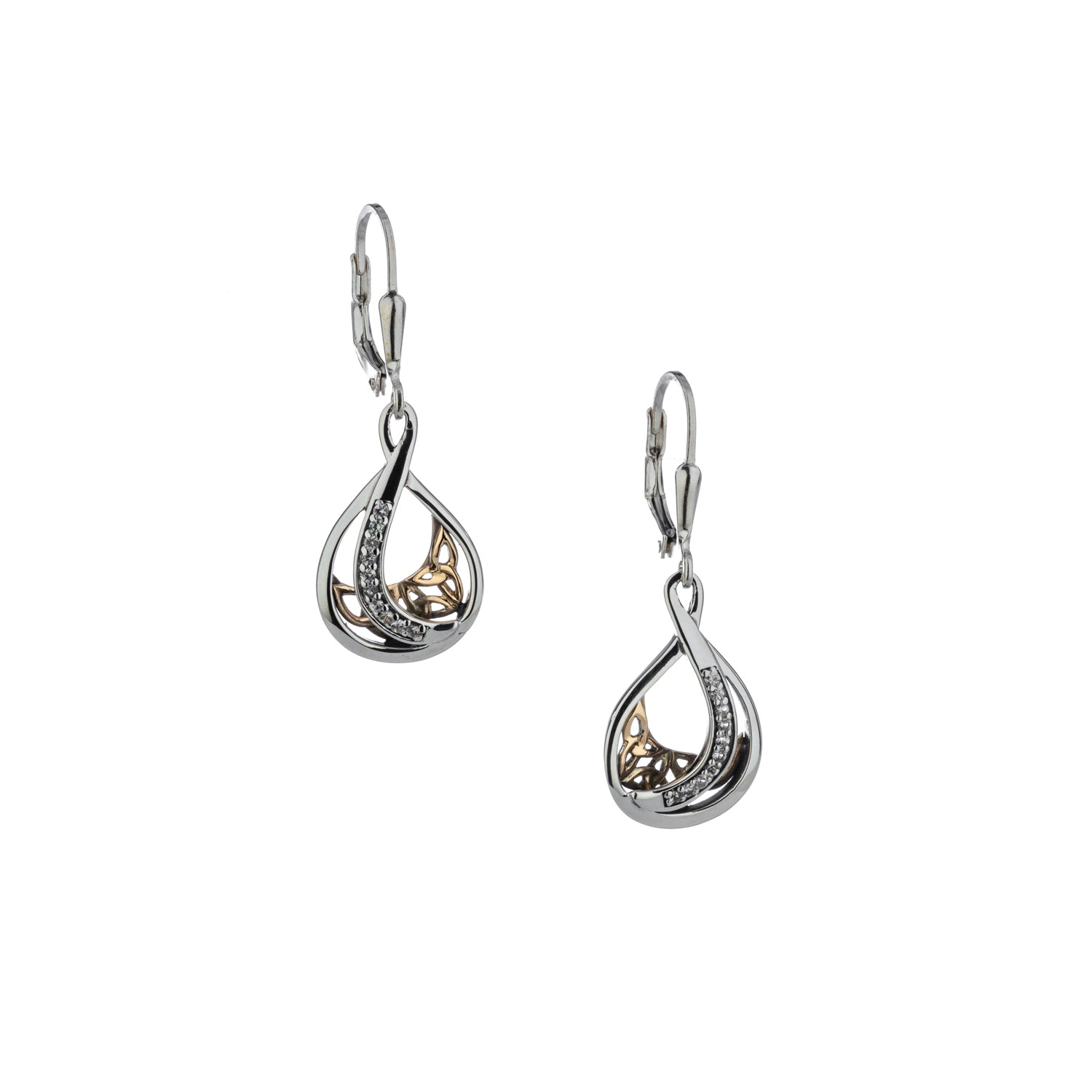 Earrings 10k White Sapphire Trinity Teardrop Leverback Earrings from welch and company jewelers near syracuse ny