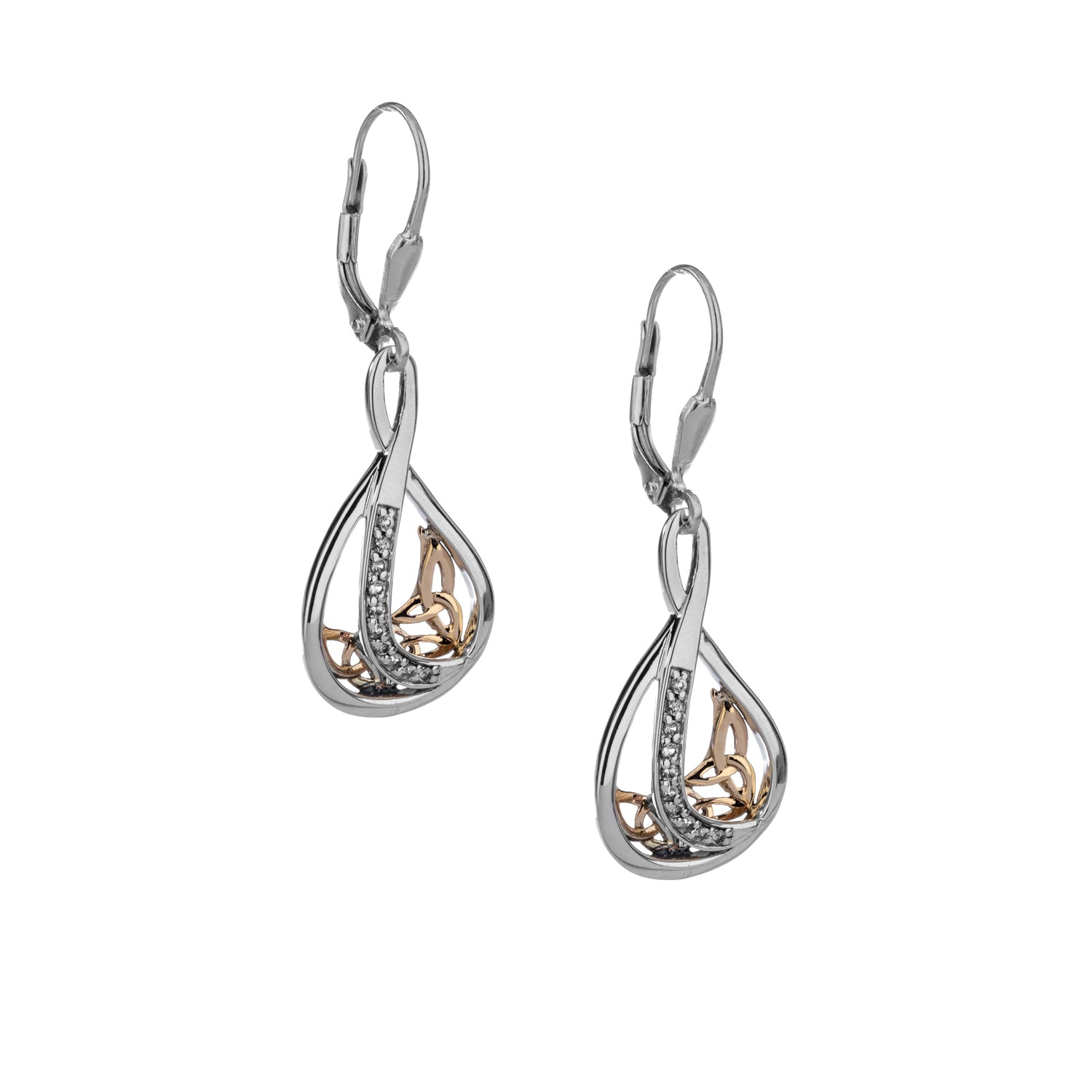 Earrings 10k White Sapphire Trinity Teardrop Leverback Large Earrings from welch and company jewelers near syracuse ny
