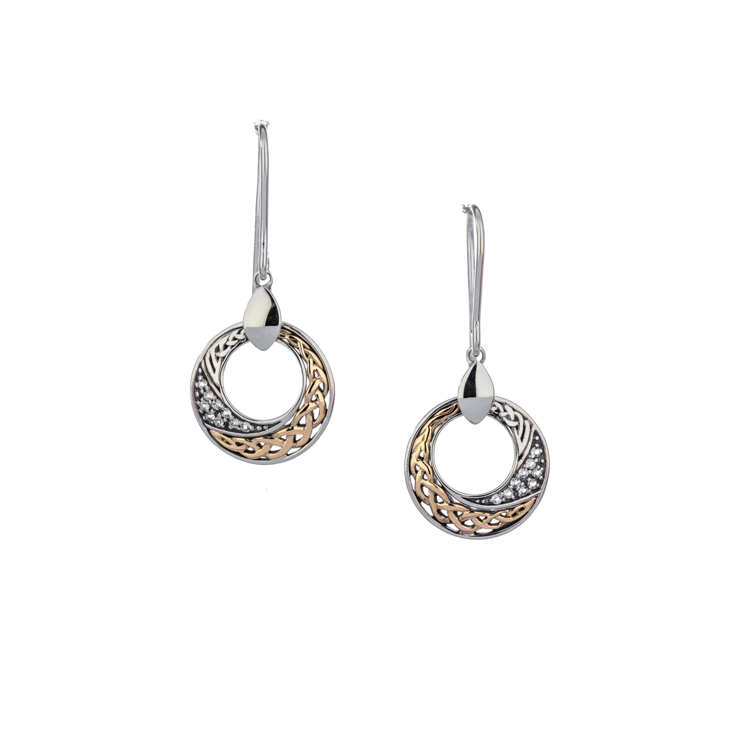 Earrings 10k Eternity White Topaz Comet Round Hook Earrings from welch and company jewelers near syracuse ny