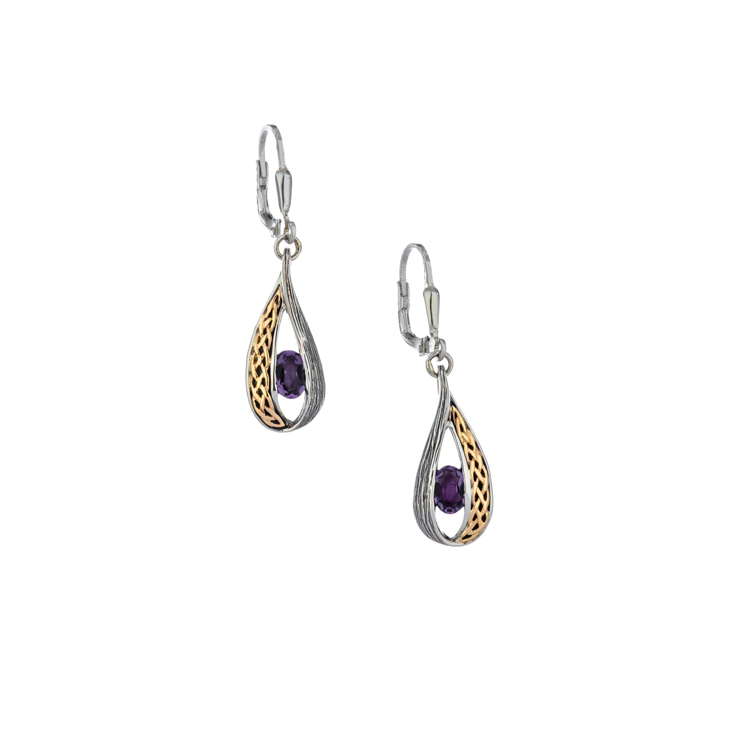 Earrings 10k Amethyst Celtic Weave Leverback Earrings from welch and company jewelers near syracuse ny