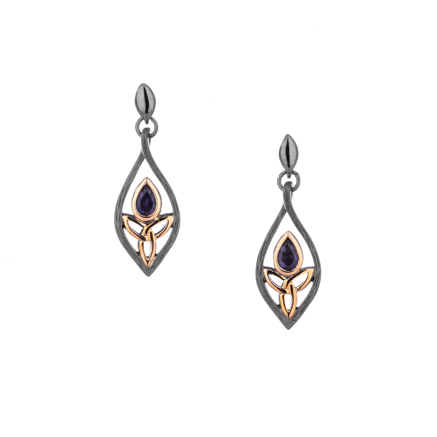 Earrings Ruthenium 10k Rose Iolite Archangel Post Earrings from welch and company jewelers near syracuse ny